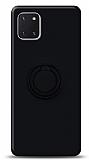 Eiroo Ring Color Samsung Galaxy Note 10 Lite Yüzük Tutuculu Siyah Silikon Kılıf