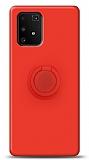 Eiroo Ring Color Samsung Galaxy S10 Lite Yüzük Tutuculu Kırmızı Silikon Kılıf