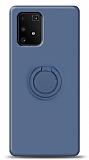 Eiroo Ring Color Samsung Galaxy S10 Lite Yüzük Tutuculu Lacivert Silikon Kılıf