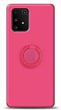 Eiroo Ring Color Samsung Galaxy S10 Lite Yüzük Tutuculu Pembe Silikon Kılıf