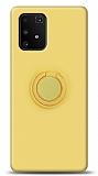 Eiroo Ring Color Samsung Galaxy S10 Lite Yüzük Tutuculu Sarı Silikon Kılıf