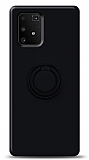 Eiroo Ring Color Samsung Galaxy S10 Lite Yüzük Tutuculu Siyah Silikon Kılıf