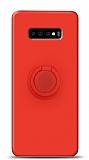 Eiroo Ring Color Samsung Galaxy S10 Plus Yüzük Tutuculu Kırmızı Silikon Kılıf