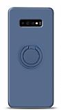 Eiroo Ring Color Samsung Galaxy S10 Plus Yüzük Tutuculu Lacivert Silikon Kılıf