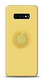 Eiroo Ring Color Samsung Galaxy S10 Plus Yüzük Tutuculu Sarı Silikon Kılıf