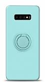 Eiroo Ring Color Samsung Galaxy S10 Plus Yüzük Tutuculu Turkuaz Silikon Kılıf