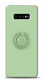 Eiroo Ring Color Samsung Galaxy S10 Plus Yüzük Tutuculu Yeşil Silikon Kılıf