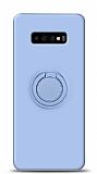 Eiroo Ring Color Samsung Galaxy S10 Yüzük Tutuculu Mavi Silikon Kılıf