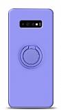Eiroo Ring Color Samsung Galaxy S10 Yüzük Tutuculu Mor Silikon Kılıf