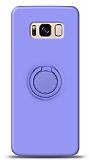Eiroo Ring Color Samsung Galaxy S8 Plus Yüzük Tutuculu Mor Silikon Kılıf