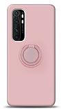 Eiroo Ring Color Xiaomi Mi Note 10 Lite Yüzük Tutuculu Açık Pembe Silikon Kılıf