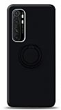 Eiroo Ring Color Xiaomi Mi Note 10 Lite Yüzük Tutuculu Siyah Silikon Kılıf