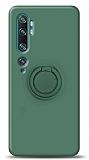 Eiroo Ring Color Xiaomi Mi Note 10 Pro Yüzük Tutuculu Koyu Yeşil Silikon Kılıf