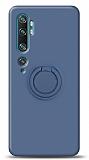 Eiroo Ring Color Xiaomi Mi Note 10 Pro Yüzük Tutuculu Lacivert Silikon Kılıf