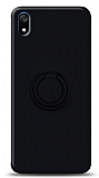 Eiroo Ring Color Xiaomi Redmi 7A Yüzük Tutuculu Siyah Silikon Kılıf