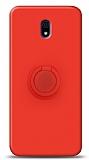 Eiroo Ring Color Xiaomi Redmi 8A Yüzük Tutuculu Kırmızı Silikon Kılıf