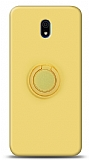Eiroo Ring Color Xiaomi Redmi 8A Yüzük Tutuculu Sarı Silikon Kılıf