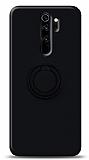 Eiroo Ring Color Xiaomi Redmi Note 8 Pro Yüzük Tutuculu Siyah Silikon Kılıf
