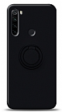 Eiroo Ring Color Xiaomi Redmi Note 8 Yüzük Tutuculu Siyah Silikon Kılıf