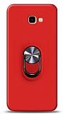 Eiroo Ring Fold Samsung Galaxy J4 Plus Standlı Ultra Koruma Kırmızı Kılıf