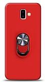 Eiroo Ring Fold Samsung Galaxy J6 Plus Standlı Ultra Koruma Kırmızı Kılıf