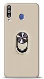Eiroo Ring Fold Samsung Galaxy M30 Standlı Ultra Koruma Gold Kılıf