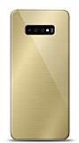 Eiroo Samsung Galaxy S10 Plus Silikon Kenarlı Aynalı Gold Kılıf
