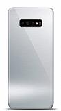Eiroo Samsung Galaxy S10 Plus Silikon Kenarlı Aynalı Silver Kılıf
