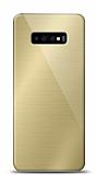 Eiroo Samsung Galaxy S10 Silikon Kenarlı Aynalı Gold Kılıf