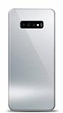 Eiroo Samsung Galaxy S10 Silikon Kenarlı Aynalı Silver Kılıf