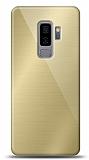 Eiroo Samsung Galaxy S9 Plus Silikon Kenarlı Aynalı Gold Kılıf
