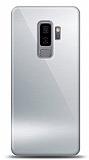 Eiroo Samsung Galaxy S9 Plus Silikon Kenarlı Aynalı Silver Kılıf
