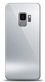 Eiroo Samsung Galaxy S9 Silikon Kenarlı Aynalı Silver Kılıf