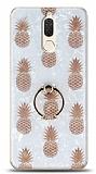 Eiroo Satin Huawei Mate 10 Lite Pineapple Yüzük Tutuculu Silikon Kılıf