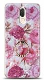 Eiroo Satin Huawei Mate 10 Lite Pink Roses Yüzük Tutuculu Silikon Kılıf