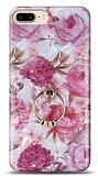 Eiroo Satin iPhone 7 Plus / 8 Plus Pink Roses Yüzük Tutuculu Silikon Kılıf