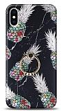 Eiroo Satin iPhone X / XS Pineapple Granite Yüzük Tutuculu Silikon Kılıf