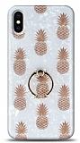 Eiroo Satin iPhone X / XS Pineapple Yüzük Tutuculu Silikon Kılıf