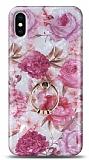 Eiroo Satin iPhone X / XS Pink Roses Yüzük Tutuculu Silikon Kılıf