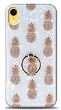 Eiroo Satin iPhone XR Pineapple Yüzük Tutuculu Silikon Kılıf
