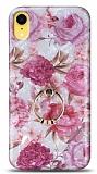 Eiroo Satin iPhone XR Pink Roses Yüzük Tutuculu Silikon Kılıf