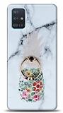 Eiroo Satin Samsung Galaxy A71 Ananas Yüzük Tutuculu Silikon Kılıf