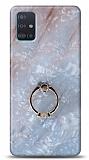 Eiroo Satin Samsung Galaxy A71 Nacreous Yüzük Tutuculu Silikon Kılıf