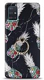 Eiroo Satin Samsung Galaxy A71 Pineapple Granite Yüzük Tutuculu Silikon Kılıf