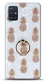 Eiroo Satin Samsung Galaxy A71 Pineapple Yüzük Tutuculu Silikon Kılıf