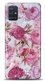 Eiroo Satin Samsung Galaxy A71 Pink Roses Yüzük Tutuculu Silikon Kılıf