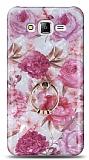 Eiroo Satin Samsung Galaxy J7 / Galaxy J7 Core Pink Roses Yüzük Tutuculu Silikon Kılıf