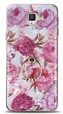 Eiroo Satin Samsung Galaxy J7 Prime / J7 Prime 2 Pink Roses Yüzük Tutuculu Silikon Kılıf