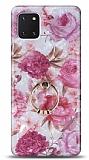Eiroo Satin Samsung Galaxy Note 10 Lite Pink Roses Yüzük Tutuculu Silikon Kılıf