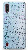 Eiroo Sparkle Samsung Galaxy A01 Işıltılı Mavi Silikon Kılıf